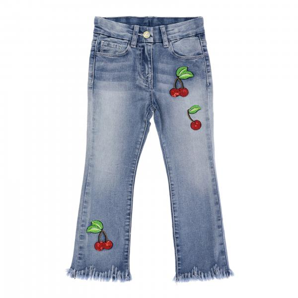 Monnalisa jeans with cherry embroidery