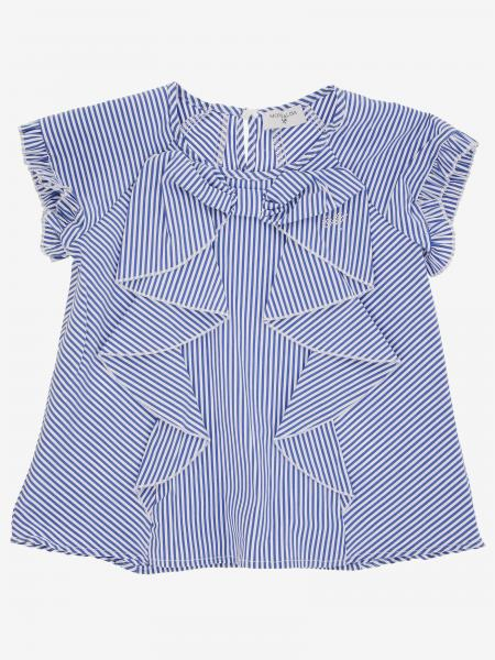 Monnalisa striped top with rouches and bow