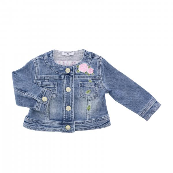 Monnalisa Bebè denim jacket with Dumbo applications and patches