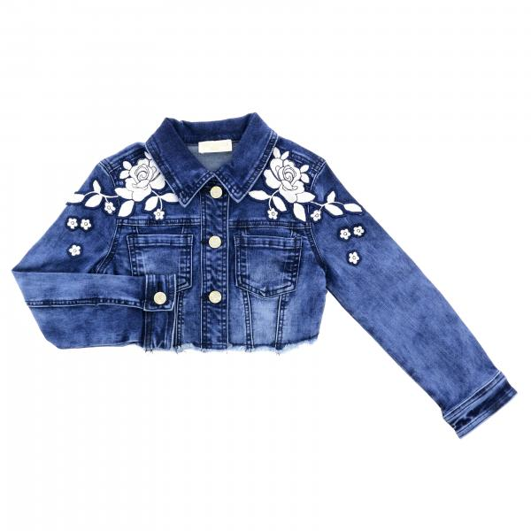 Monnalisa Chic denim jacket with floral patch