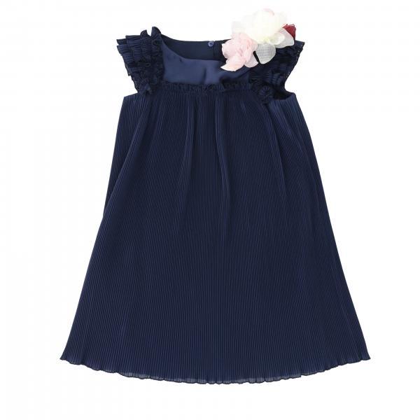 Monnalisa Chic 花朵装饰飞边连衣裙