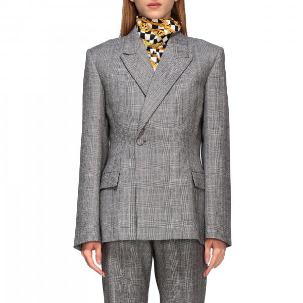 Waisted Balenciaga jacket in check tailored wool