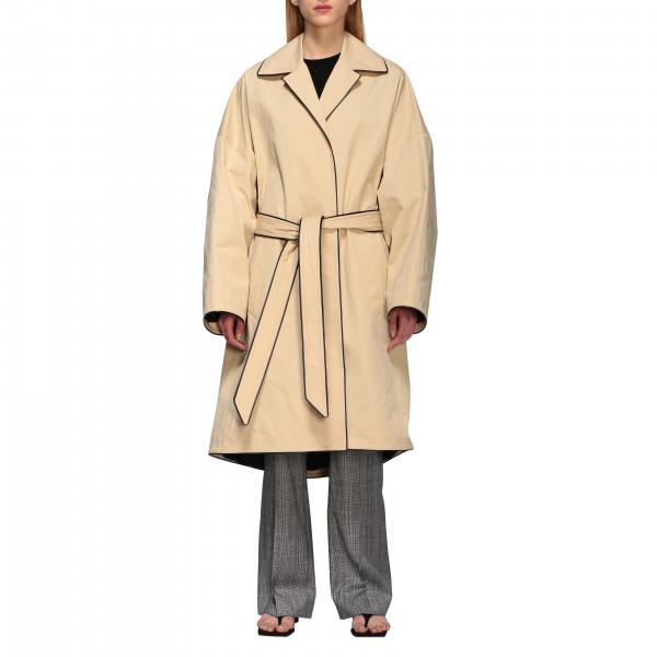 Trench Cocoon Balenciaga in cotone impermeabile con piping contrasto