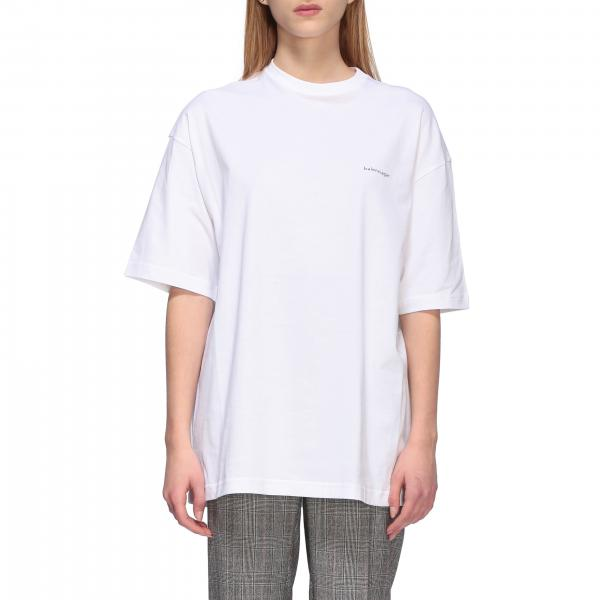 T-shirt Balenciaga over a girocollo con logo copyright
