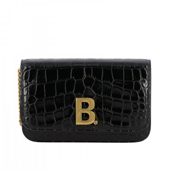 Borsa B wallet chain S Balenciaga in pelle stampa cocco