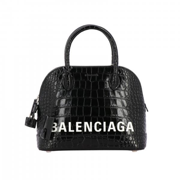 Balenciaga Ville S logo装饰鳄鱼纹印花真皮手袋