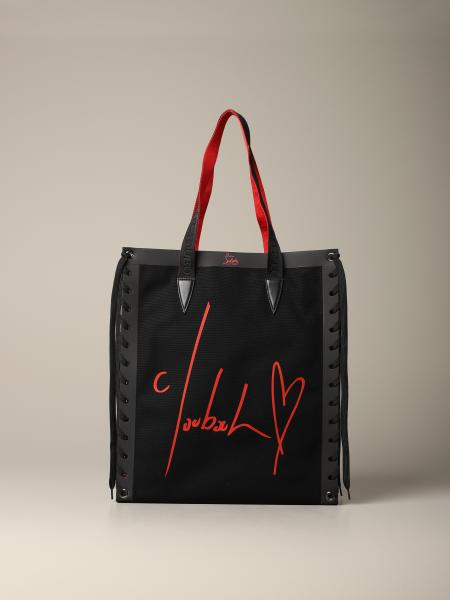 Borsa Cabalace Christian Louboutin in canvas con scritte