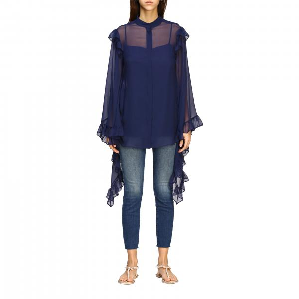 Alberta Ferretti chiffon shirt with flounces on the wide sleeves