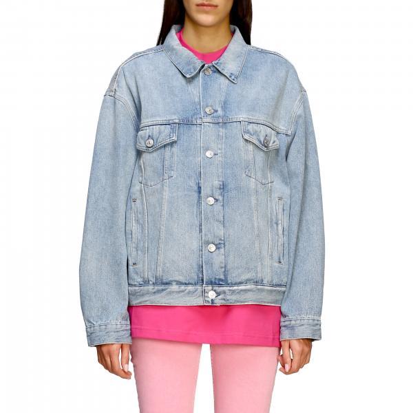 Giacca di jeans Balenciaga in denim con logo di strass