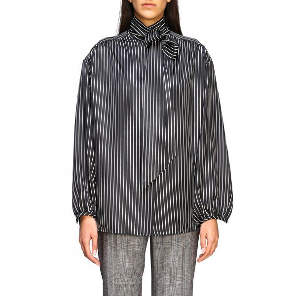 Gestreiftes Balenciaga Seidenhemd mit rückseitigem Logo