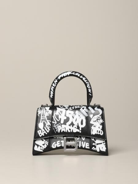 Borsa Hour glass XXS Balenciaga in pelle con stampa graffiti