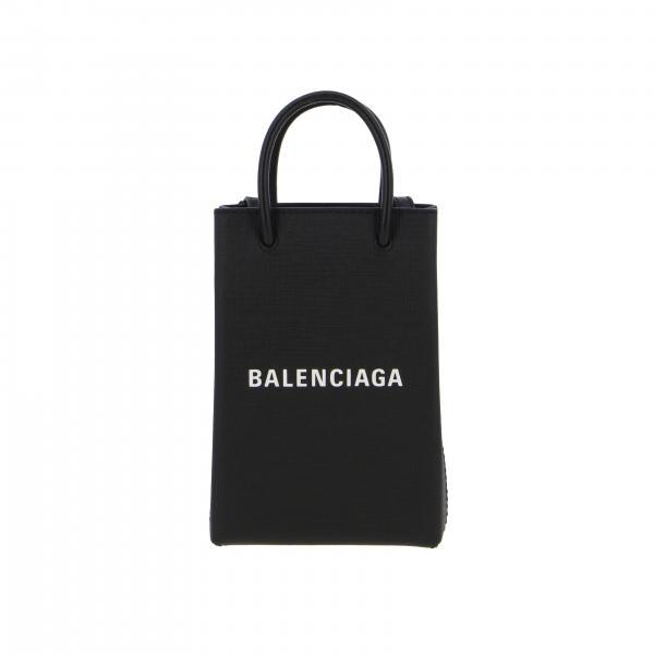 Borsa shopping phone Holder Balenciaga in pelle di vitello squadrata