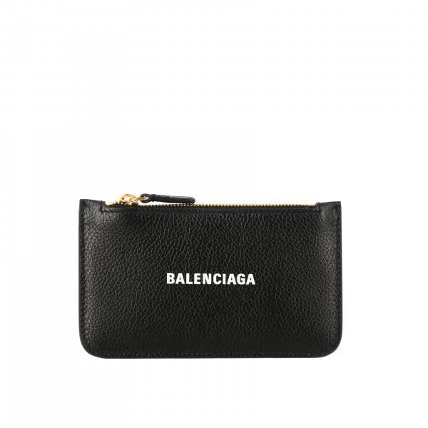 Porta carte di credito Balenciaga in pelle con zip