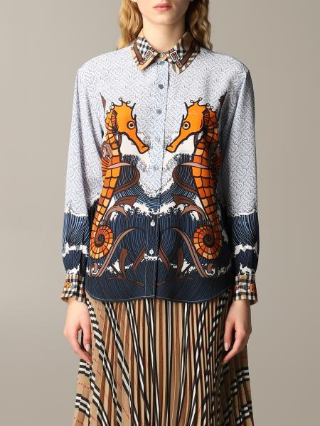 Burberry Juliette silk shirt with seahorse print and check