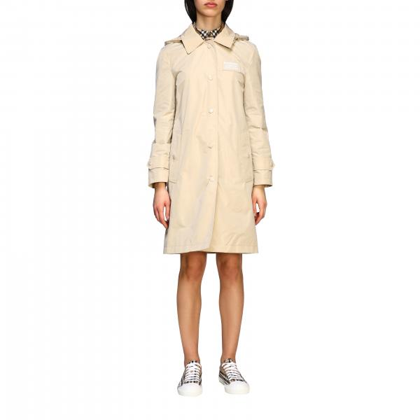 Oxclose Burberry nylon trench coat with hood and check interior