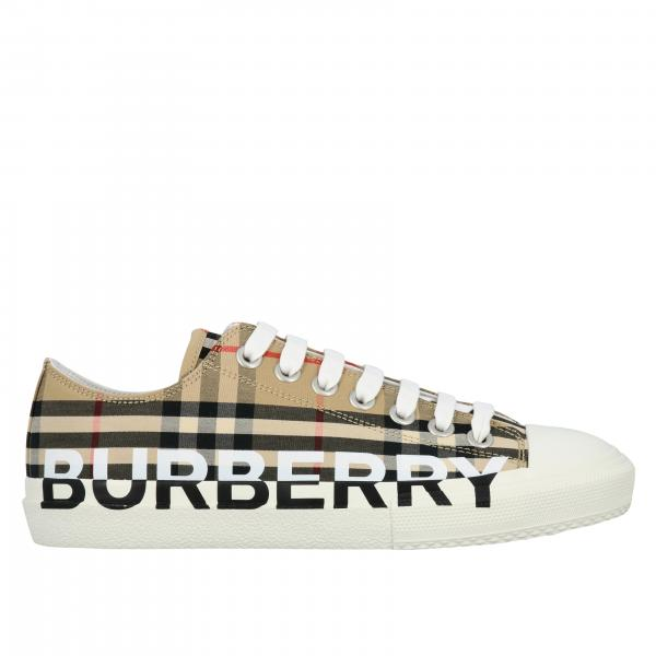Sneakers Burberry in cotone check vintage con logo