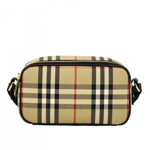 Mini Burberry bag in leather and check canvas