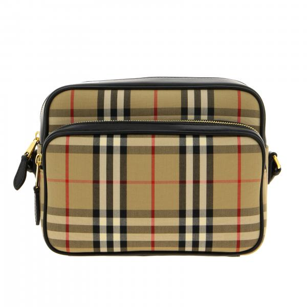 Borsa a tracolla camera case Burberry in tela check e pelle