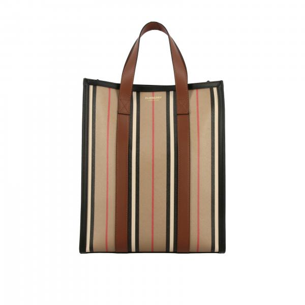 Borsa Book tote shopping Burberry in pelle a righe vintage
