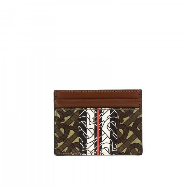 Porta carte di credito Sundon Burberry in pelle con stampa exclusive monogram