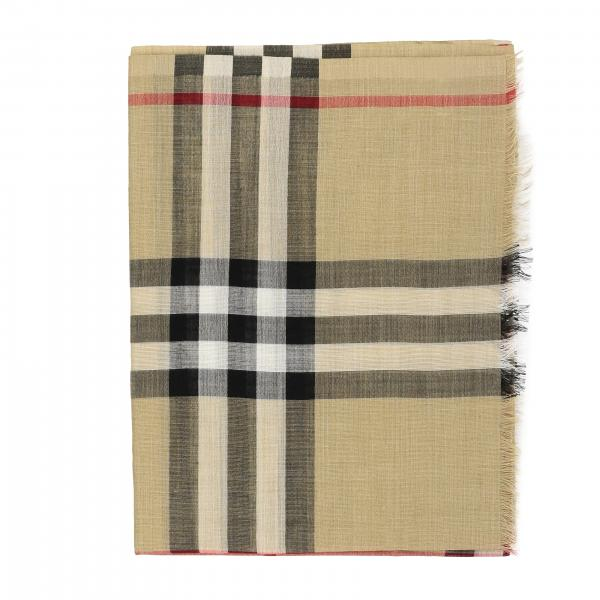 Gauze novelty Burberry scarf in wool and silk check