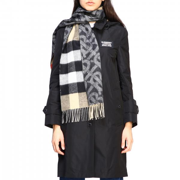 Sciarpa Burberry in cashmere double face con logo TB e motivo check
