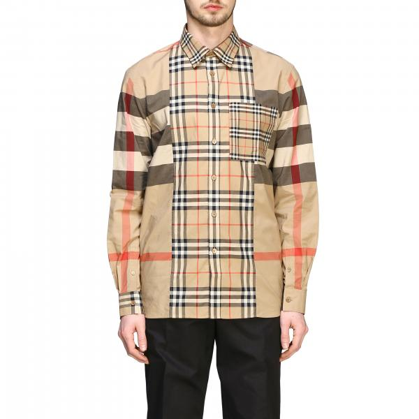 Burberry check patchwork shirt with Italian collar