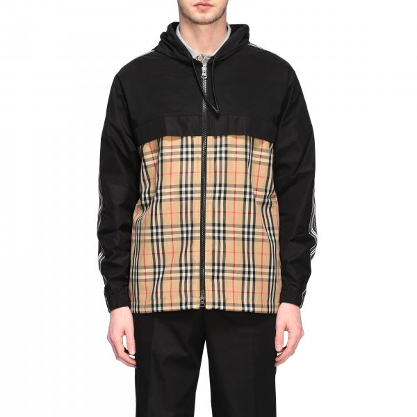 Nylon check zip con cappuccio