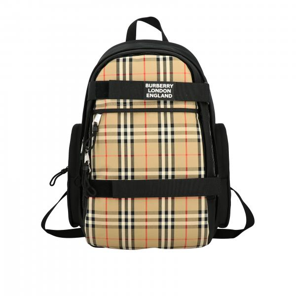 Nevis Burberry backpack with logo and check insert