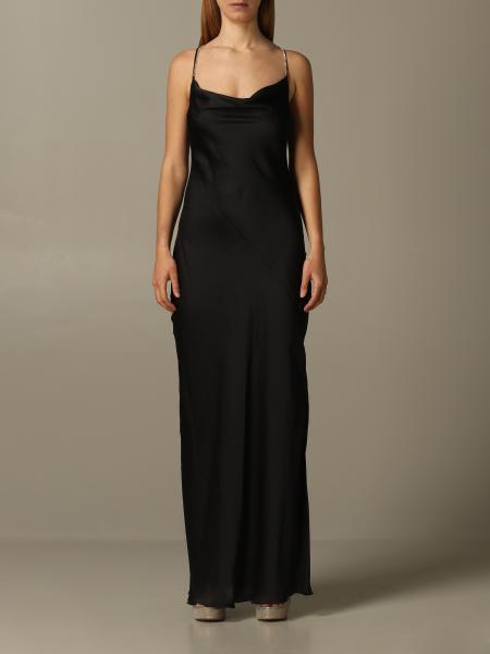 Patrizia Pepe long satin dress with rhinestones