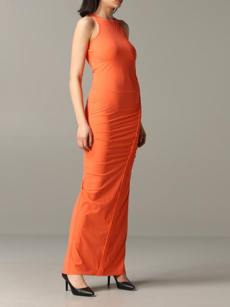 Patrizia Pepe long dress in technical draping fabric