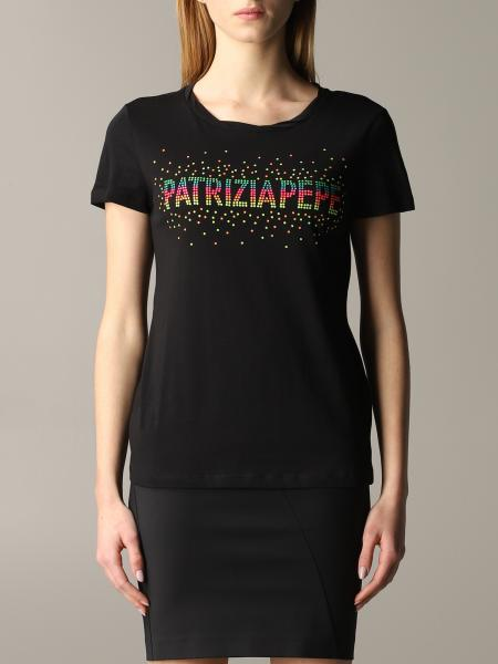 Patrizia Pepe T-shirt with rhinestone logo
