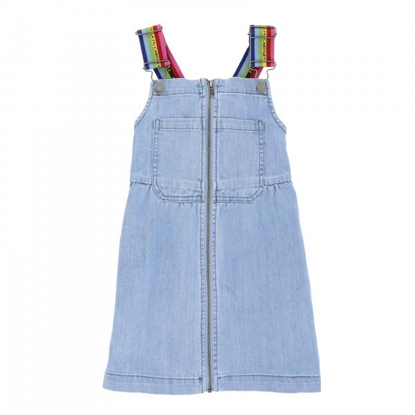 Stella McCartney denim overalls with striped suspenders