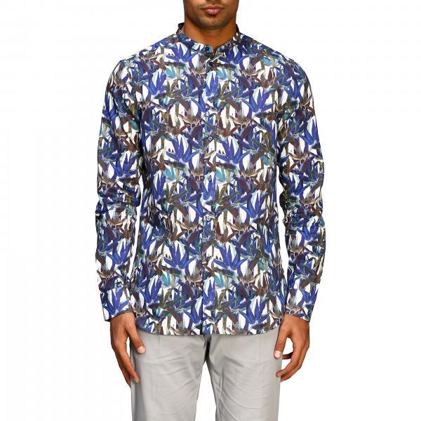 Paolo Pecora Hemd mit Stehkragen und Print