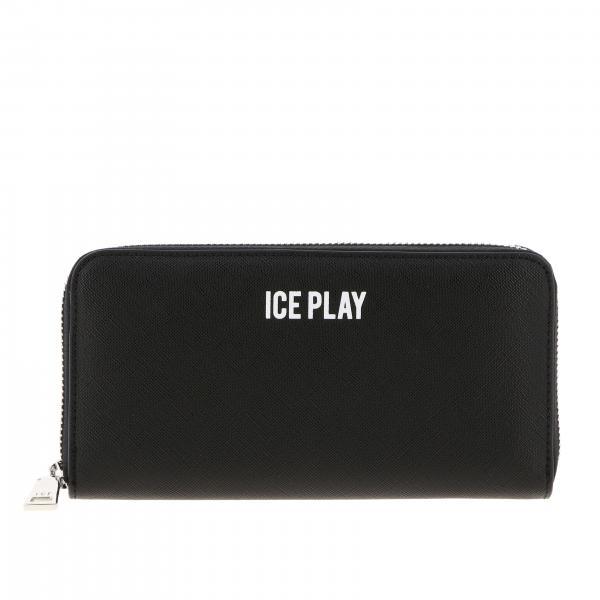 Portafoglio continentale Ice Play in pelle sintetica con logo
