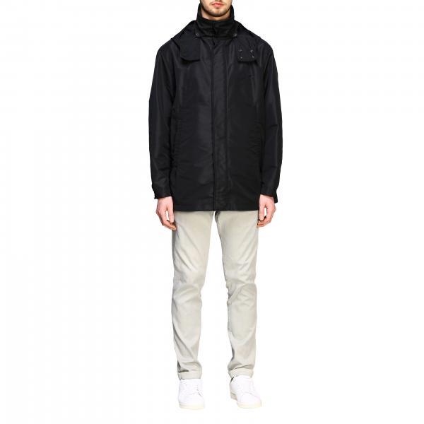 Cappotto N°21 in tessuto tecnico con cappuccio e maxi logo posteriore