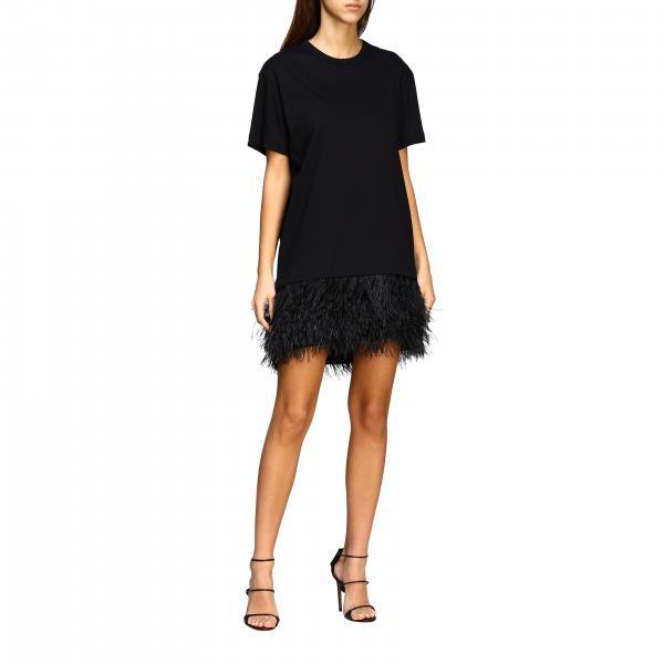Платье N° 21 из джерси и хлопка с обрамлением из перьев