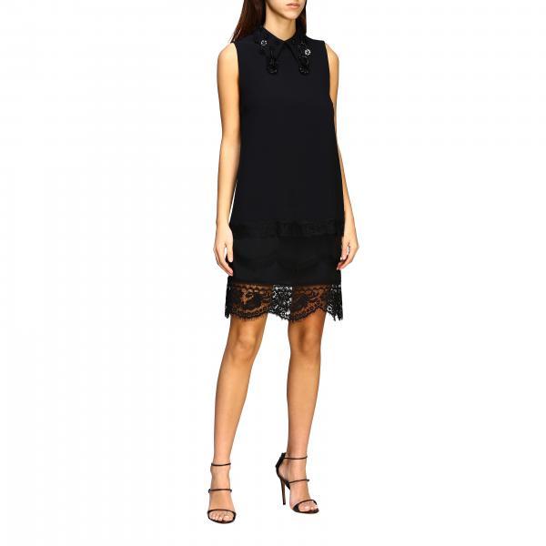Платье N° 21 с аппликациями и обрамлением из кружева