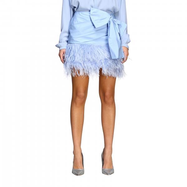 Мини-юбка N° 21 из поплина с обрамлением из перьев