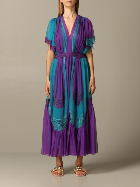 Alberta Ferretti midi dress in bicolor chiffon