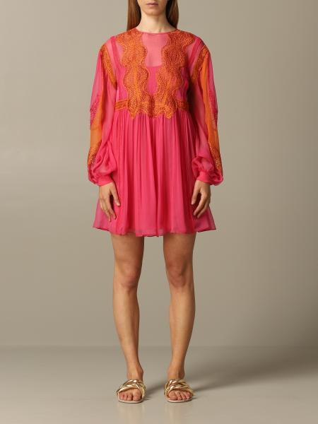 Alberta Ferretti chiffon dress with lace inserts