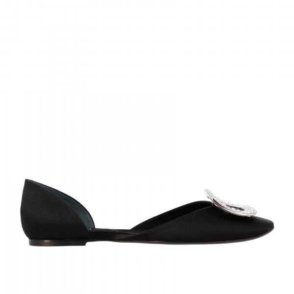 Roger Vivier ballet flat in satin with rhinestone buckle
