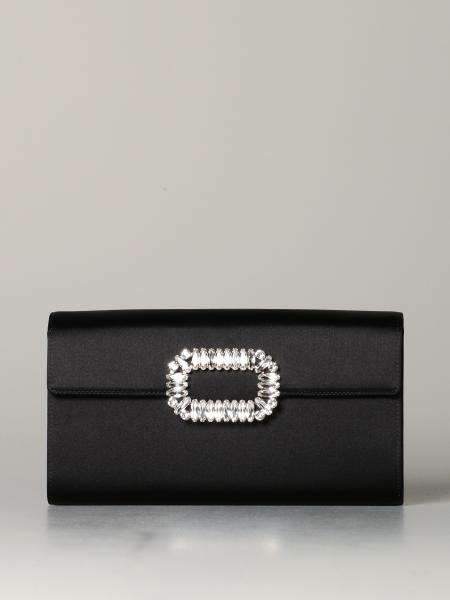 Roger Vivier sexy shock satin clutch with rhinestone buckle
