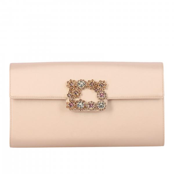 Roger Vivier satin clutch with crystal flower buckle