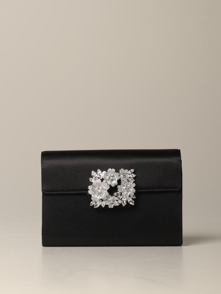 Roger Vivier satin bag with rhinestone buckle