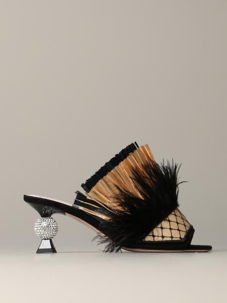 Roger Vivier Tiki viv sandal in raffia and feathers