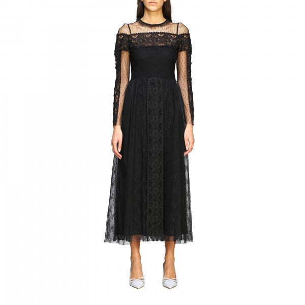 Red Valentino long dress in point d'esprit tulle and macramé