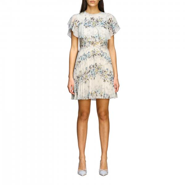 Red Valentino pleated silk dress with floral print