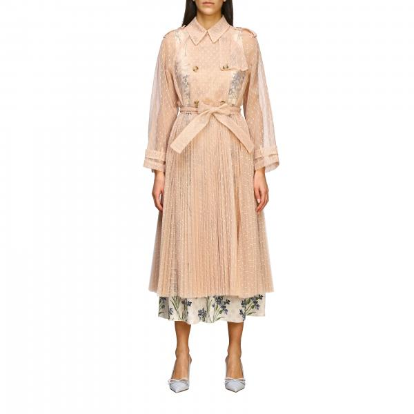 Red Valentino long trench coat in point d'esprit tulle