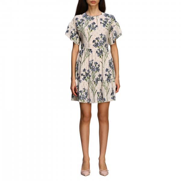 Red Valentino silk dress with Cornflower print